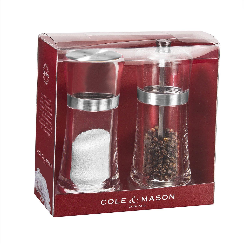 Acrylic Mills Include Premium Sea Salt and Peppercorns Cole and Mason H307515U Cole /& Mason Fontwell Shaker /& Pepper Grinder Gift Set