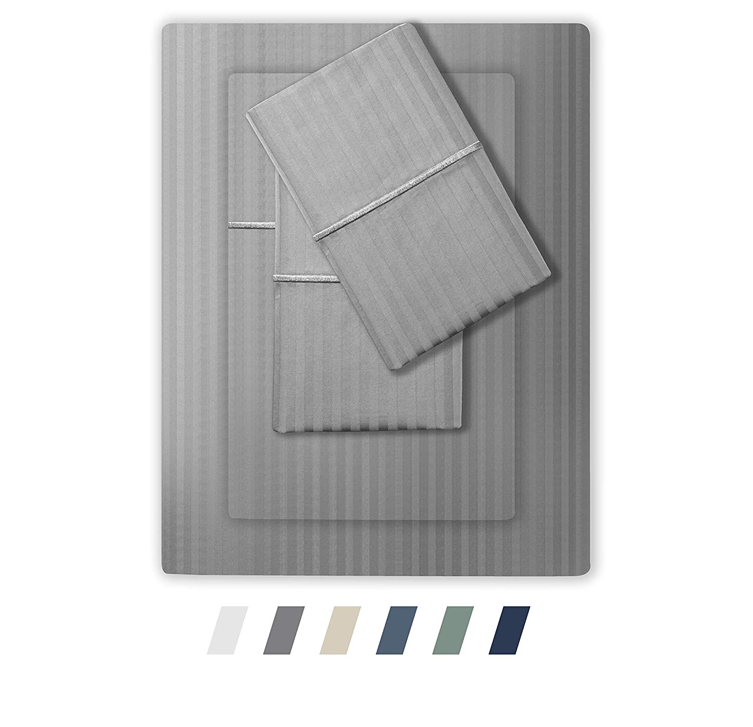 Feather & Stitch 500 Thread Count 100% Cotton Stripe Sheets + 2 Pillowcases, Soft Sateen Weave, Deep Pocket, Hotel Collection, Luxury Bedding Set (Grey, California King)