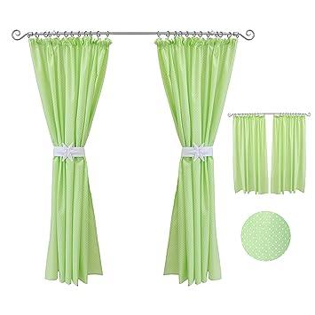 Kinderzimmer Vorhänge 155 x 155 cm Set mit Schlaufen Baby Gardinen Vorhang  Kräuselband Grün mit Punkten