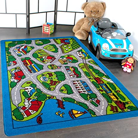 Kids Rug Street Map In Grey 3u0027 X 5u0027 Children Area Rug For Playroom