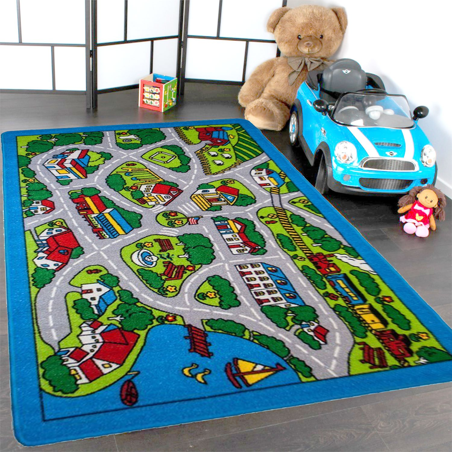 Kids Rugs Street Map in Grey 8' X 11' Childrens Area Rug - Non Skid Gel Backing (7'10'' X 11'3'')