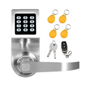 Colosus NDL302 Keyless Electronic Trusted Digital Smart Door Lock, Keypad – Smartcode Security, Grant & Control Access for Home, Office, Rental Property, Gym (Silver - 4 Key Fobs)