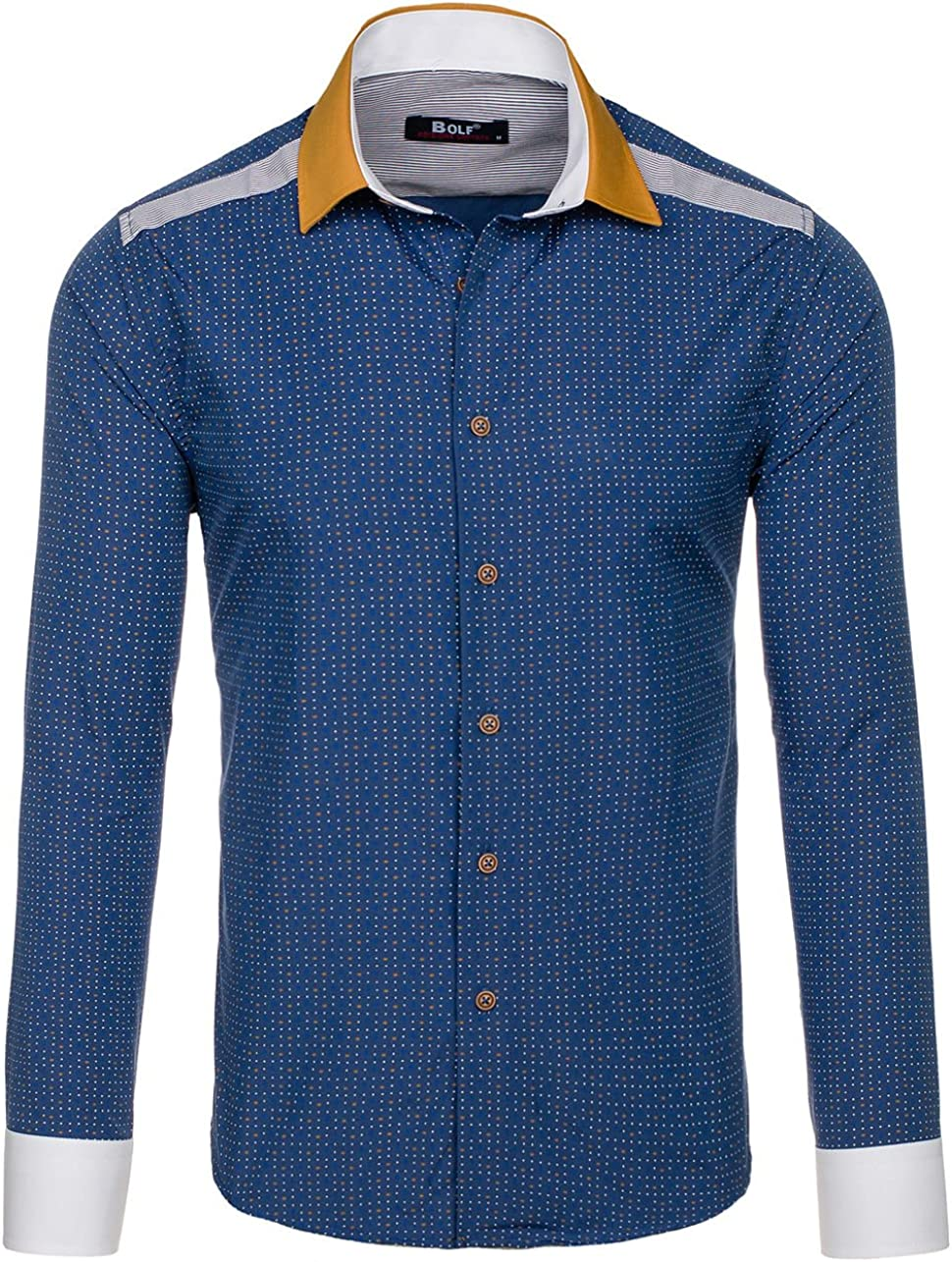 BOLF - Camisa Casual - con Botones - Manga Larga - para Hombre Dunkelblau_8805 M: Amazon.es: Ropa y accesorios