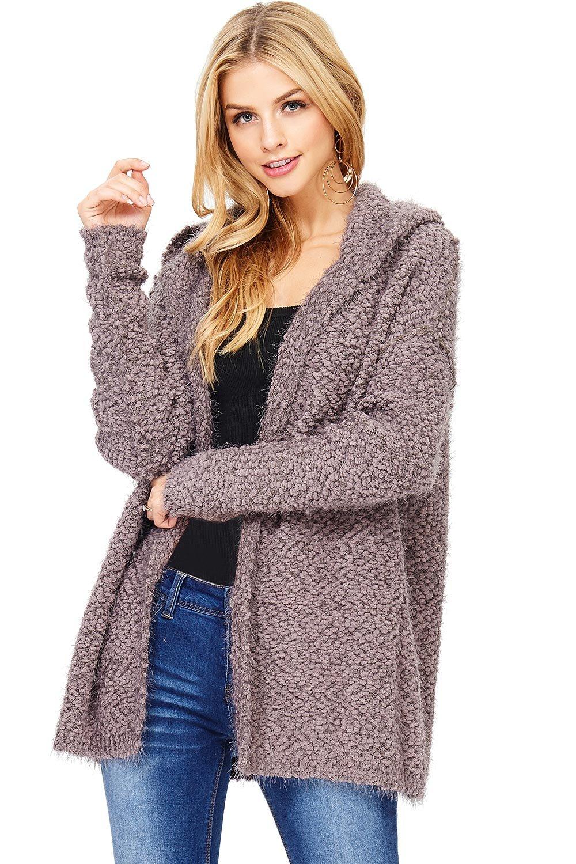 Love Stitch Women's Hoodie Eyelash Cardigan Sweater (M/L, Mushroom)