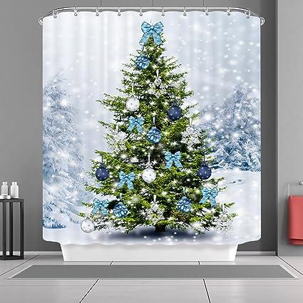 Amazon VANCAR Christmas Shower Curtain Winter Snow Snowflakes