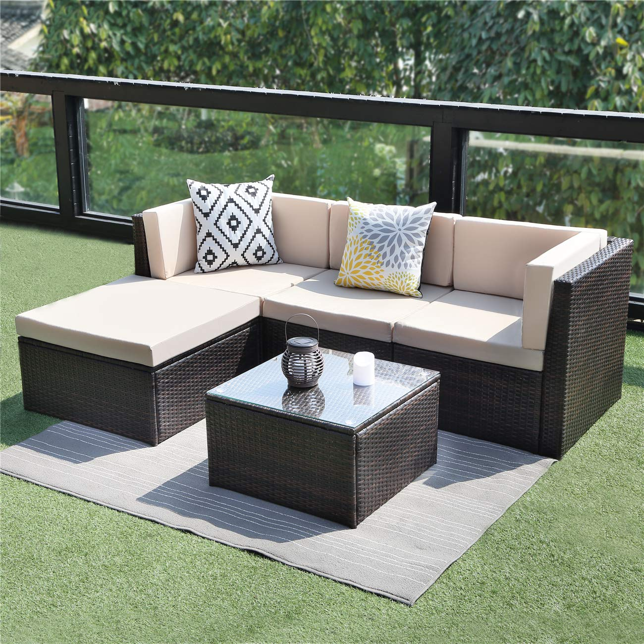 Wisteria Lane Outdoor Sectional Patio Furniture,5 Piece ... on 5 Piece Sectional Patio Set id=45256