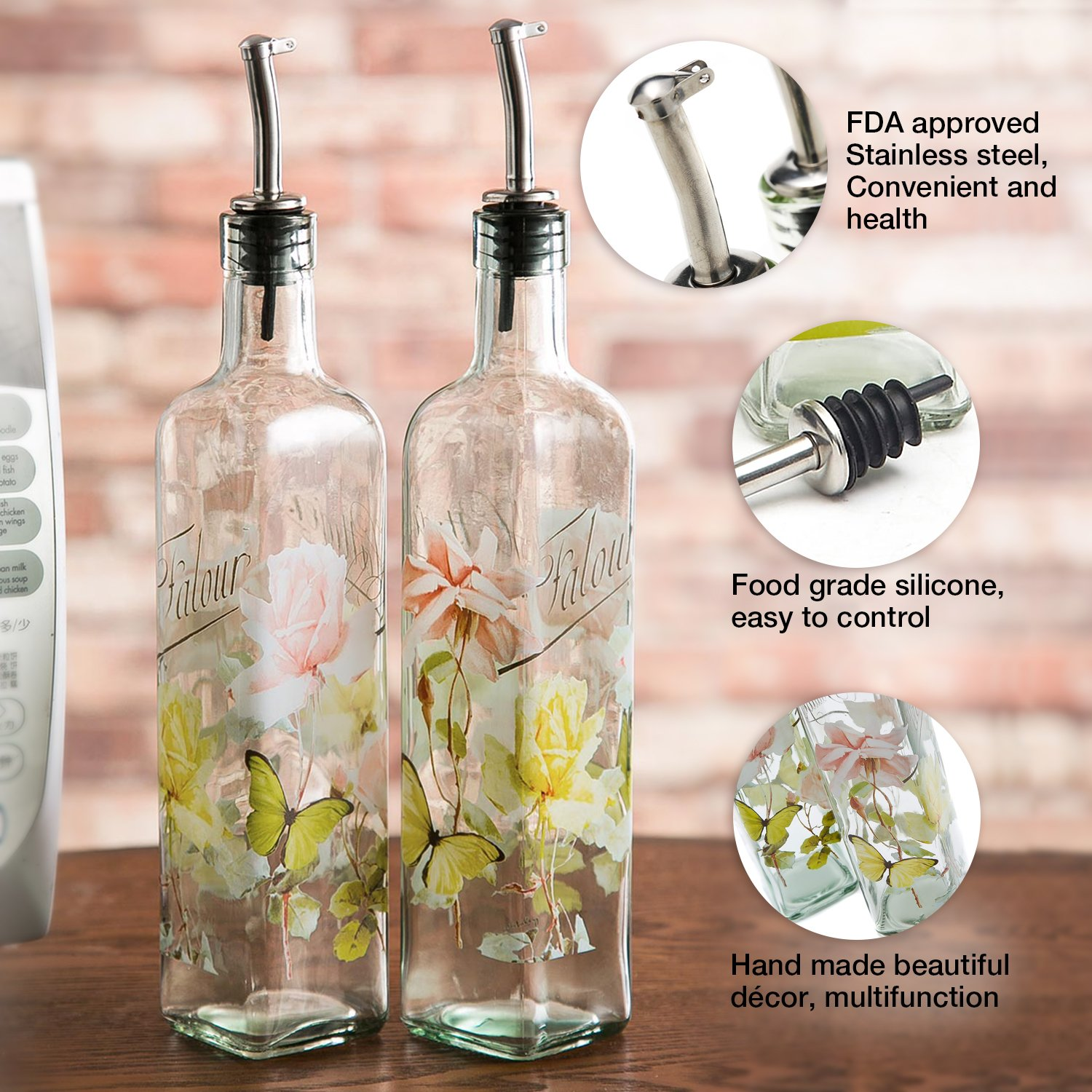 CEDAR HOME Olive Oil Bottle Set Glass Dispenser Vinegar Cruet 17oz. with Stainless Steel Leak Proof Pourer Spout for Cooking or Salad Dressing, 2 Pack, Pink by CEDAR HOME (Image #3)