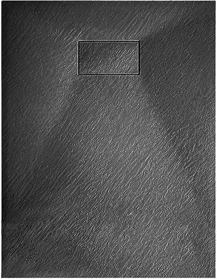 Piatto Doccia Arredo Arredamento Bagno Spessore 2.6 Cm In Resina SMC Effetto Pietra Stone Ardesia Antiscivolo Filopavimento Riducibile Indistruttibile Con Griglia Di Copertura Bianco 70 x 90 Cm