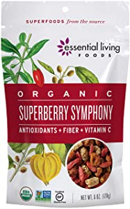 Essential Living Foods Organic Super Berry Symphony Trail Mix, Mulberries, Goji Berries, Goldenberries, Vegan, Superfood, Non-GMO, Gluten Free, Hiking Fuel, 6 Ounce Resealable Bag