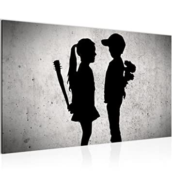 0a0ad4685f Bilder Junge trifft Mädchen - Banksy Street Art Wandbild 70 x 40 cm Vlies -  Leinwand Bild XXL ...