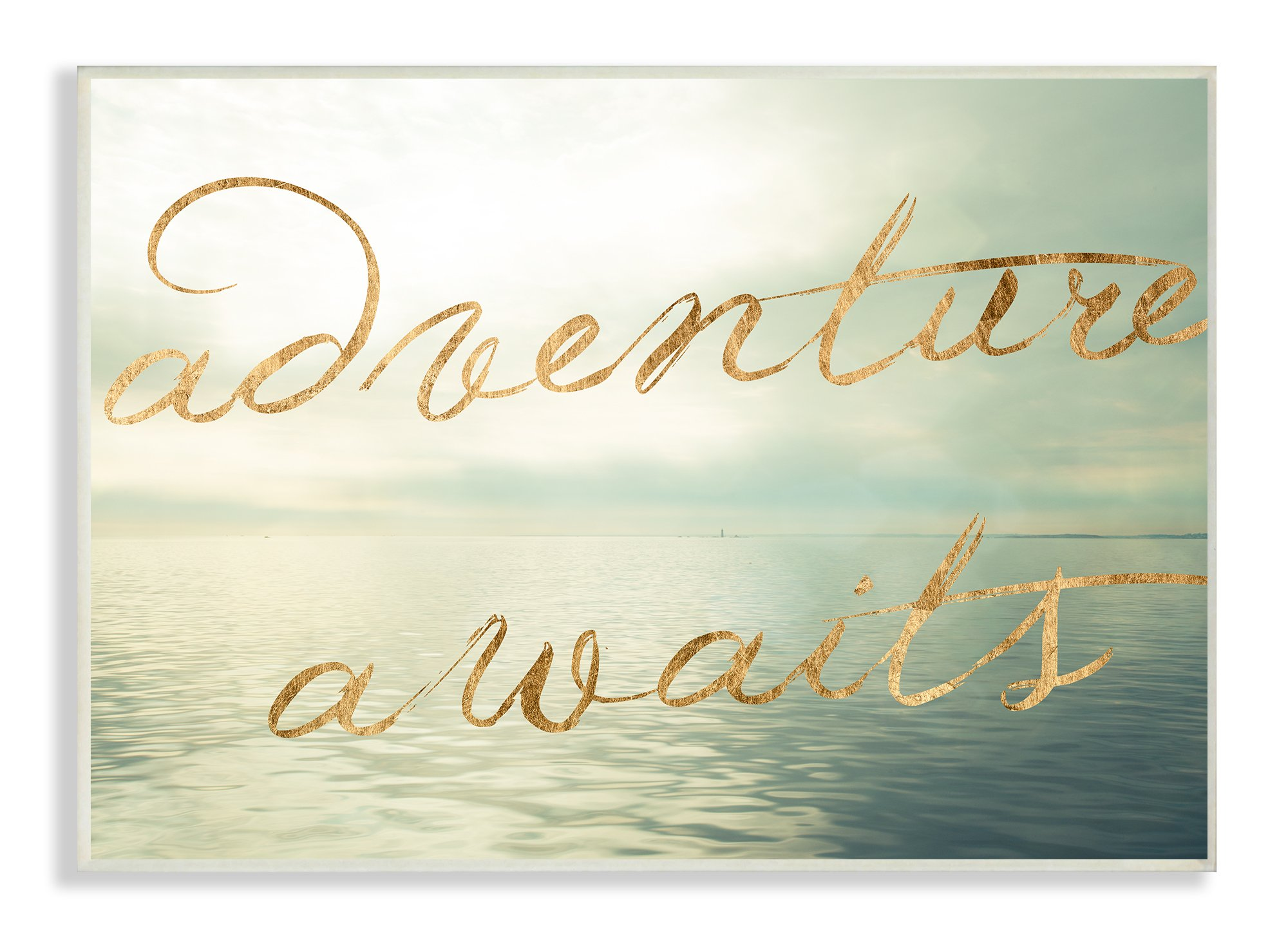 Stupell Home Décor Adventure Awaits Seascape Wall Plaque Art, 10 x 0.5 x 15, Proudly Made in USA