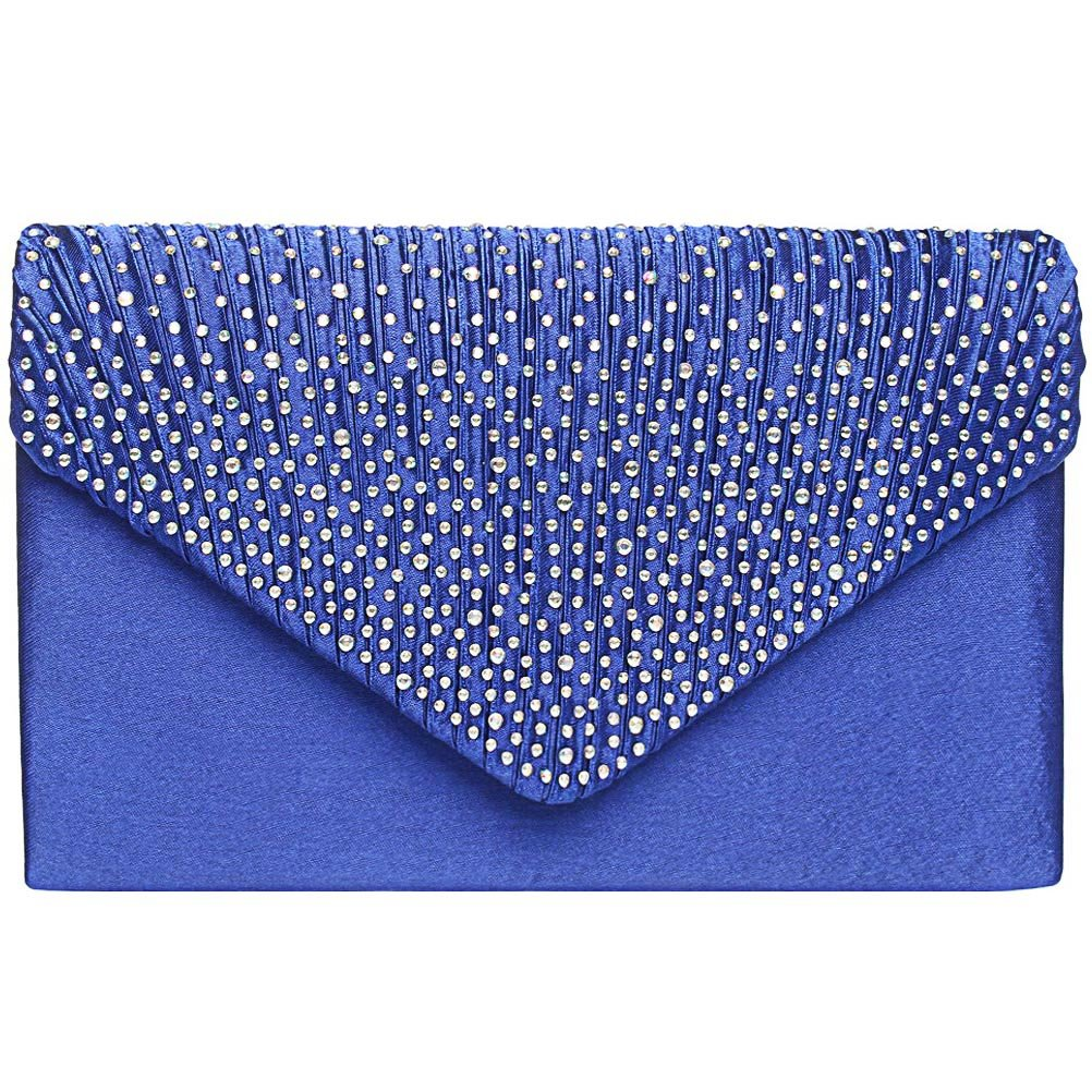 Fashion Road Womens Satin Envelope Evening Clutch Purse Wedding Party Prom Handbags Royal Blue