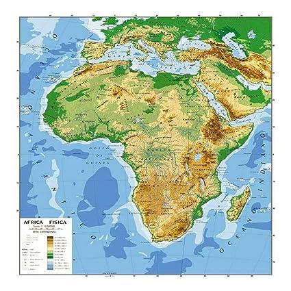 Cartina Africa Politica E Fisica.Cartina Carta Geogrifica Africa Bifacciale Fisica Politica