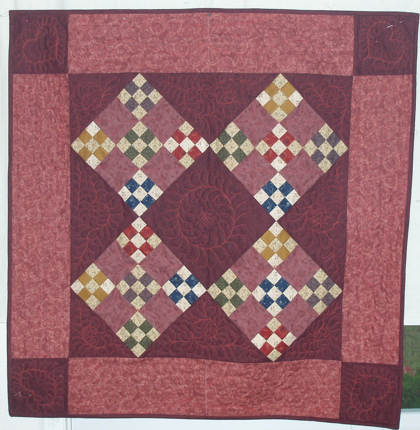 Image of Amish Double 9-Patch Wall Hanging Quilt, Wall Quilts, Amish Quilts, Amish Style Quilts, Small Quilts Home and Kitchen