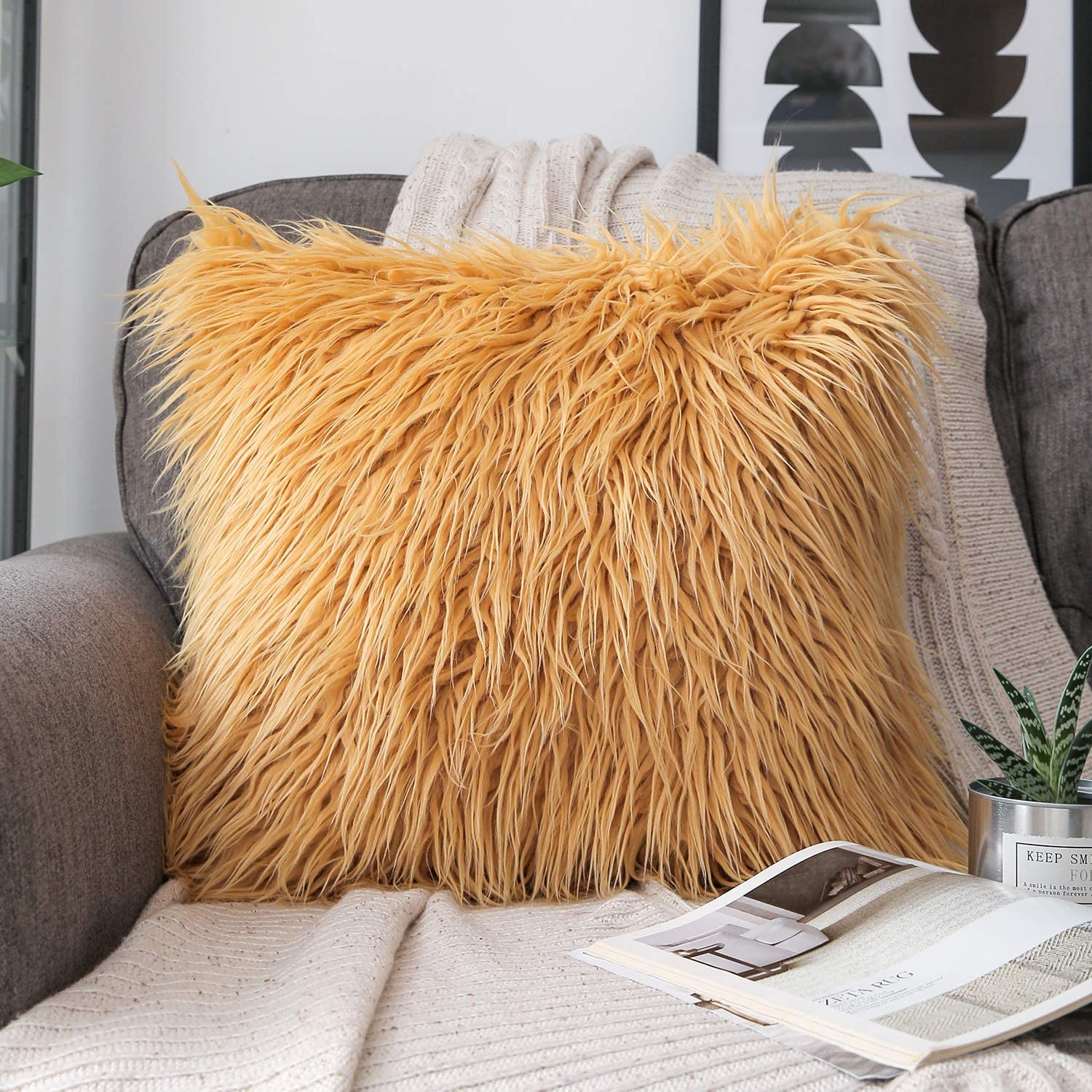 Phantoscope Luxury Series Throw Pillow Cover Faux Fur Mongolian Style Plush Cushion Case for Couch Bed and Chair, Ginger, 18 x 18 inches, 45 x 45 cm