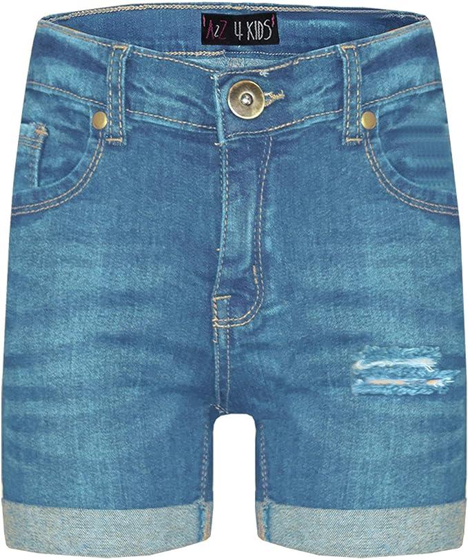 Ex-Store Ages 8-15 Girls Bermuda Jeans Floral Shorts Knee Length Mid Blue Denim