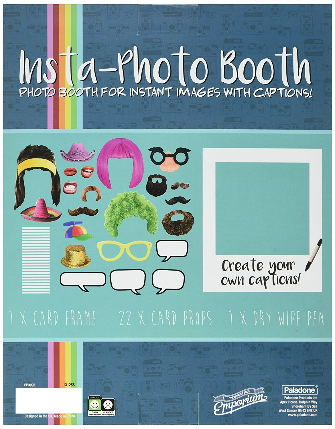 Paladone Insta Photobooth Props & Frame - Includes 22 Props and a Dry Erase Photo Frame