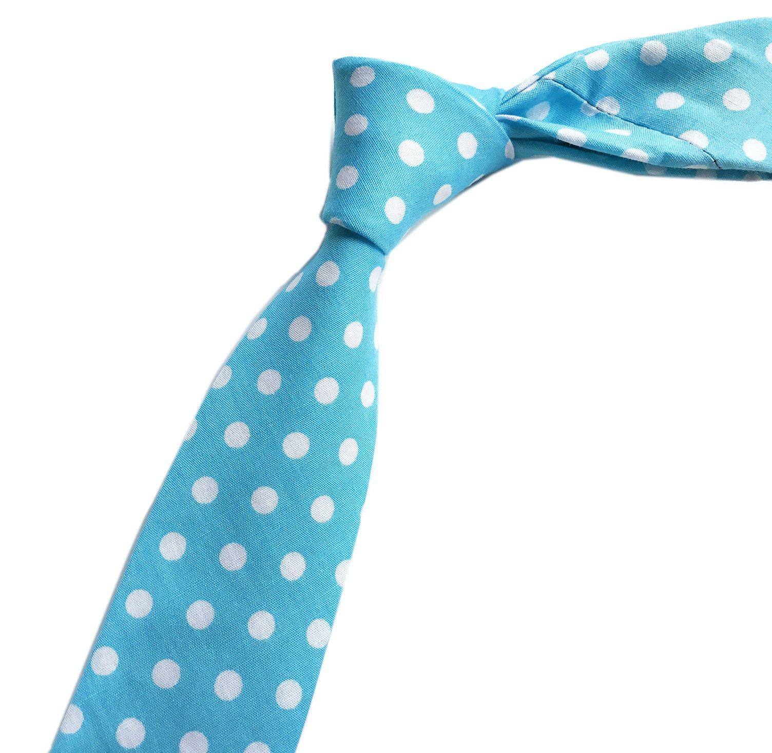 Elfeves Men's Sky Blue White Dots Cravat Woven Elegant Neck Ties for Father Gift