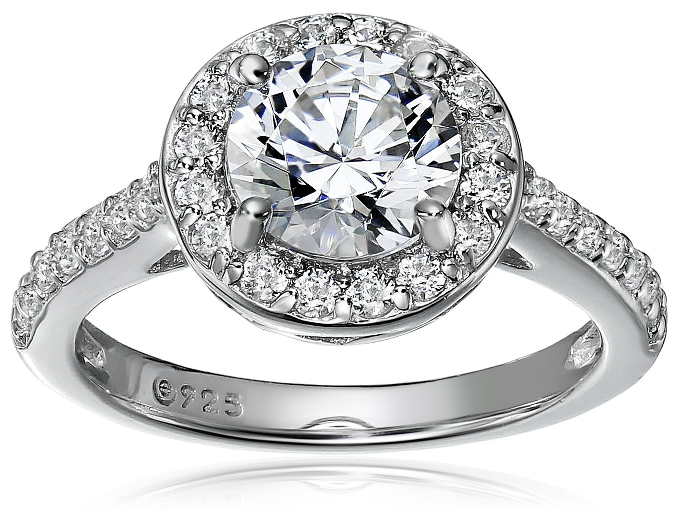 7b88ead364024 Platinum-Plated Sterling Silver Round-Cut Halo Ring made with Swarovski  Zirconia, Size 5