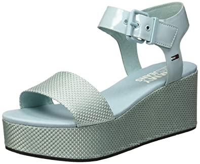 b165ae24f Hilfiger Denim Women s Material Mix Flatform Sandal Platform (Canal Blue  446) ...