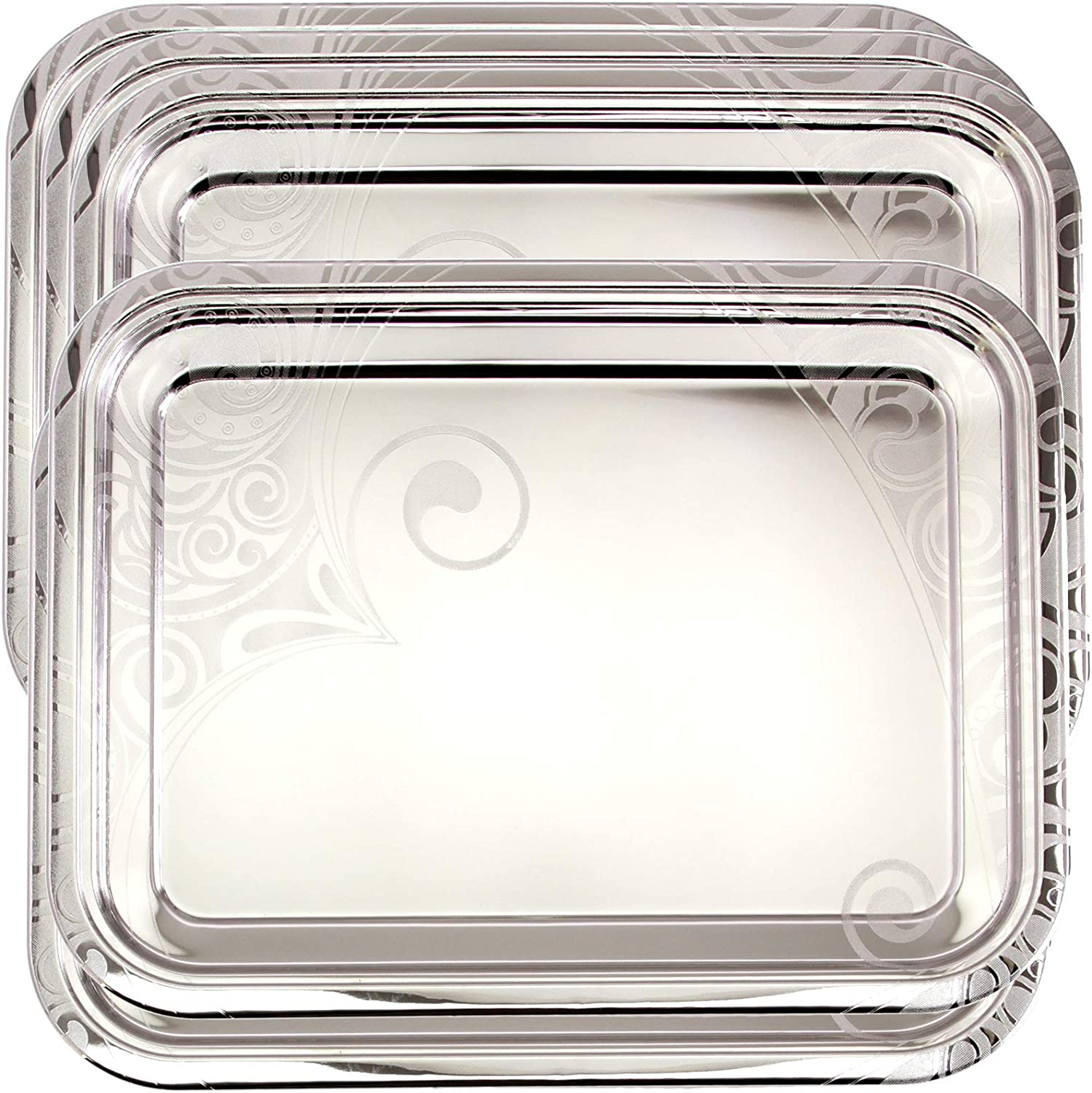 Maro Megastore (Pack of 5) 16.9 inch x 13 inch Oblong Chrome Plated Mirror Silver Serving Tray Stylish Design Floral Engraved Edge Decorative Party Birthday Wedding Buffet Wine Platter Plate CC-866