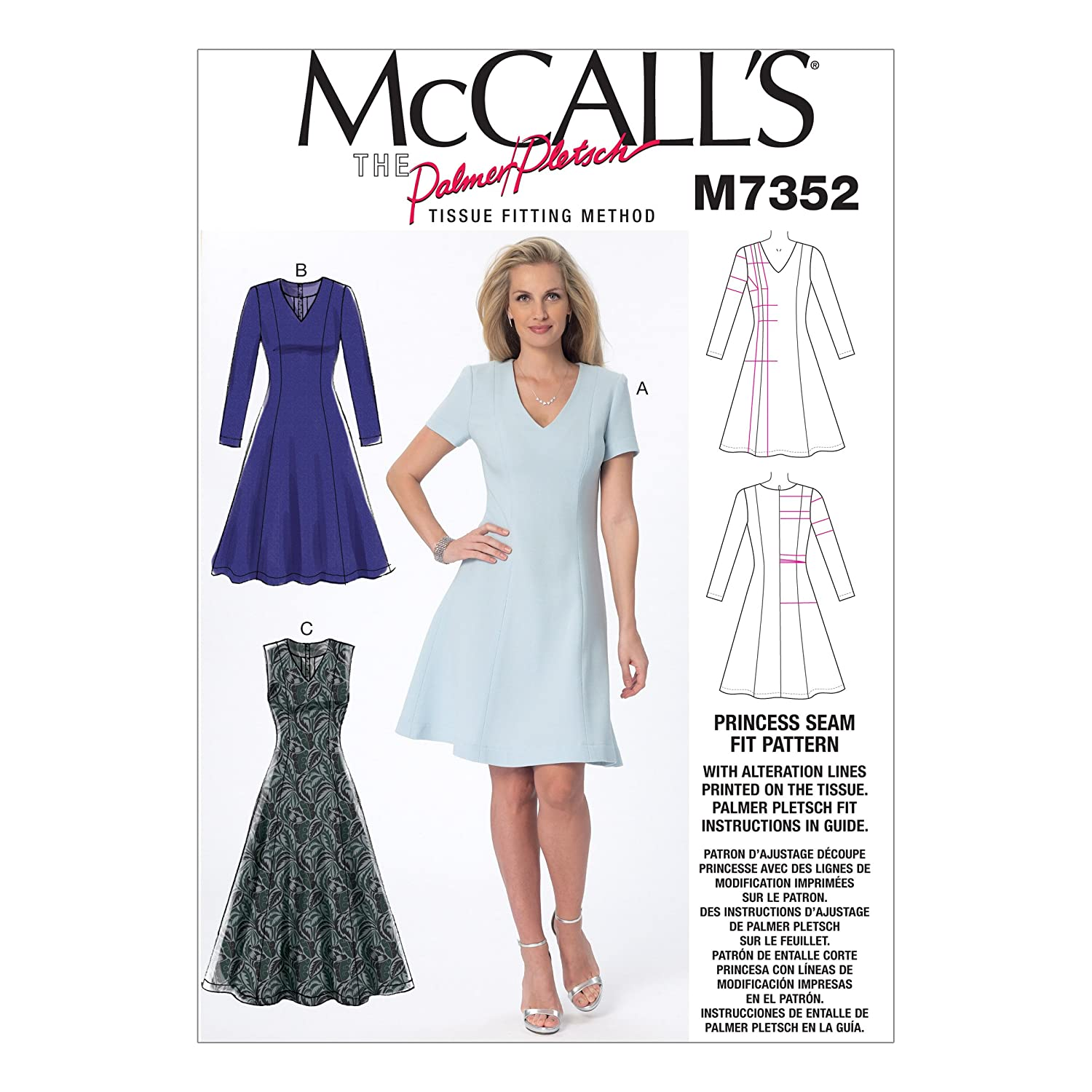 Amazon.com: McCall\'s Patterns M7352 Misses\' Jewel or V-Neck Fit and ...