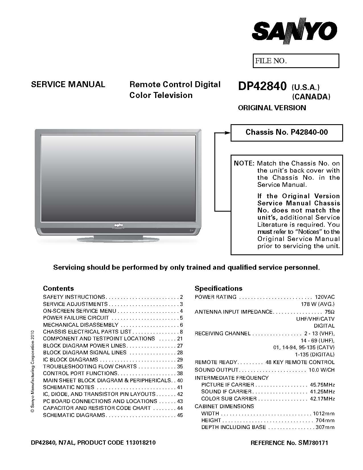 sanyo dp42840 service manual with schematics sanyo amazon com books rh amazon com DP42840 Parts Sanyo DP42840 Troubleshooting