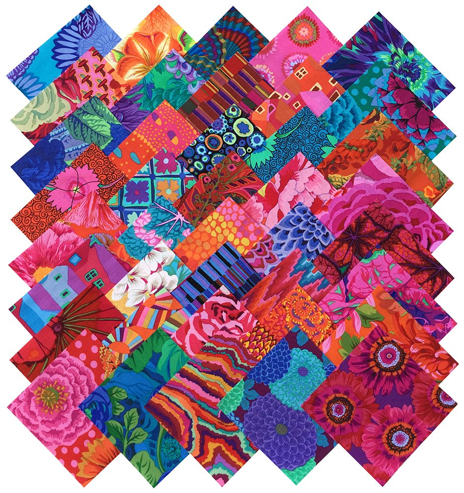 Kaffe Fassett Collective BOLD BRIGHT Precut 5-inch Cotton Fabric Quilting Squares Charm Pack Assortment Westminster Fibers KAFFECOLBOLDBRIGHT5
