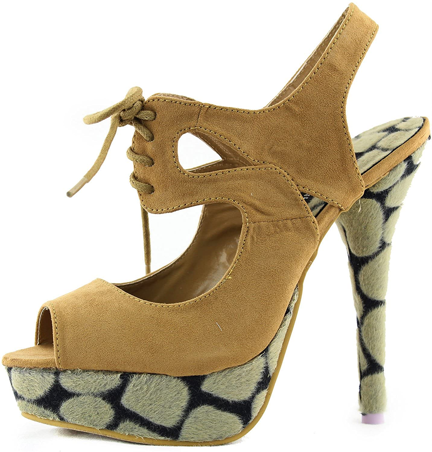 Womens Platform Peep Toe Lace Up Ankle Strap Leopard Animal Printed High Heel Sandals Fashion Shoes