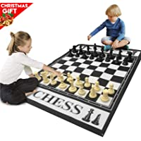 EasyGo Giant 3 Feet X 4 Feet Mat Chess Game – Indoor Outdoor Family Game – Lawn Game – Pieces Range from 3-6 Inches Tall