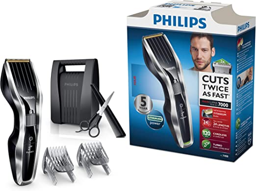 Philips HAIRCLIPPER Series 7000 HC7450/80 - Afeitadora (0,5 mm, 2,3 cm, 4,1 cm, Titanio, 120 min, 1 h): Amazon.es ...