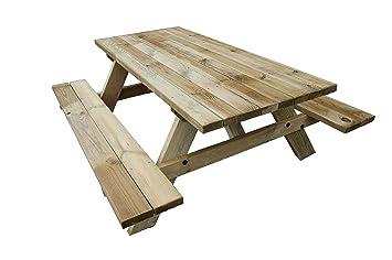 Table de pique-nique jardin en bois traité 164 x 78 x 180 cm modèle ...