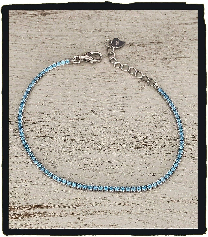 Bijoux Bijoux - Pulsera Fina con Cristales Azules claros, Aguamarina, Plata Maciza 925/1000, rodiada