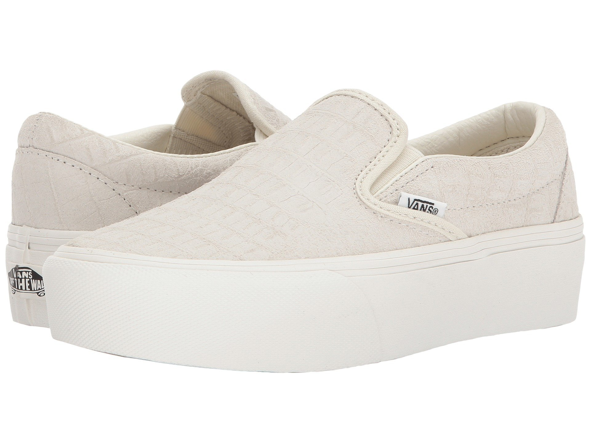Vans Women's Classic Slip-On Platform Sneakers (7.5 Women / 6 Men M US, (Embossed) Turtledove)