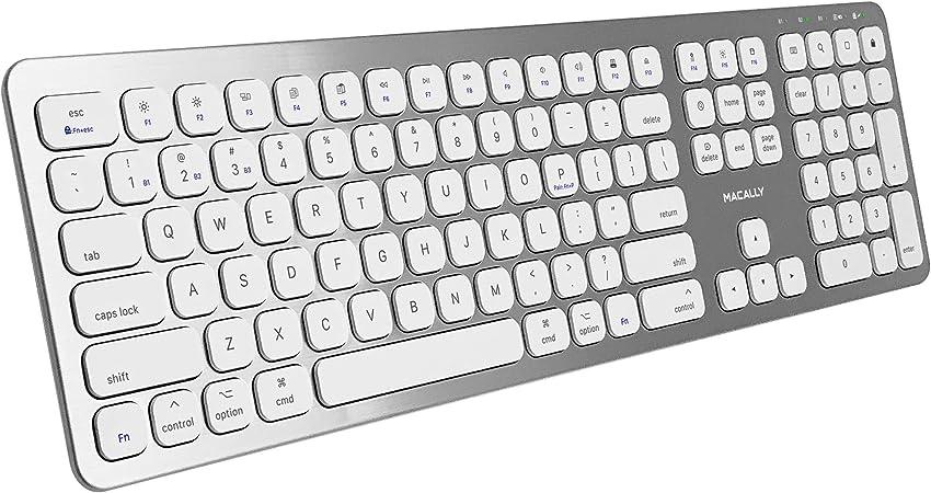 Macally Teclado inalámbrico Bluetooth para Mac, iMac, Apple Mac Pro, Mac Mini, MacBook Pro/Air Laptop – Teclado delgado de tamaño completo recargable ...