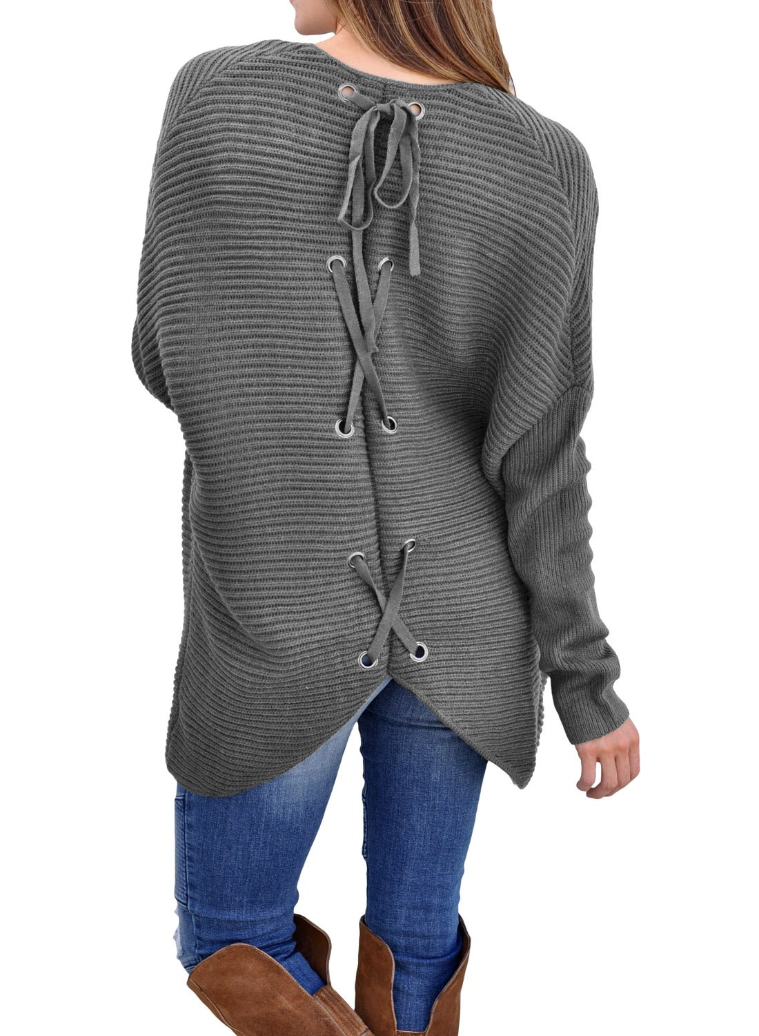 Women's Casual Long Sleeve Open Front Cardigans Ribbed Knit Sweaters Loose Lace up Back Oversized Outerwear Coat Grey Plus Size XL 16 18