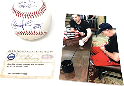 PSA//DNA Charlie Sheen Autographed 11x14 Major League Rick Vaughn Signed Photo