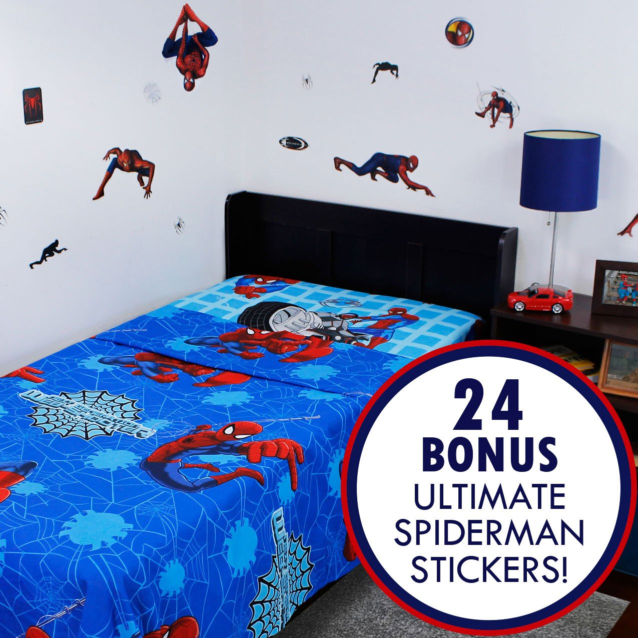 2pc Marvel Ultimate Spider-Man Twin Flat and Fitted Sheets Plus Bonus Sticker Set