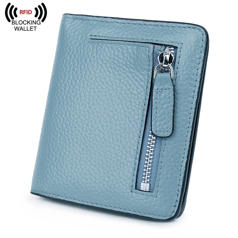 BIG SALE-AINIMOER Women's RFID Blocking Leather Small Compact Bifold Pocket Wallet Ladies Mini Purse with id Window (Gray Blue)