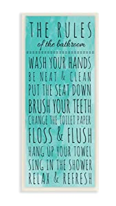 "Stupell Home Décor Bathroom ""The Rules"" Turquoise Wall Plaque Art, 7 x 0.5 x 17, Proudly Made in USA"