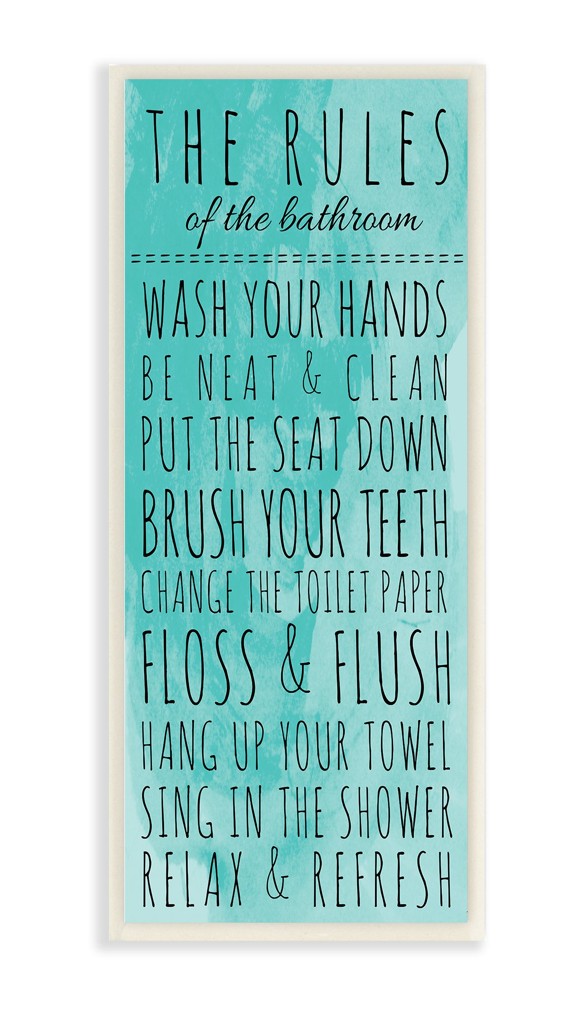 Stupell Home Décor Bathroom ''The Rules'' Turquoise Wall Plaque Art, 7 x 0.5 x 17, Proudly Made in USA