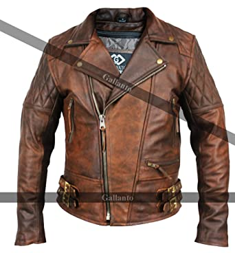 9d8f73f4a0 Classic Diamond Motorcycle Biker Brown Distressed Vintage Leather Jacket  Armour (XS)