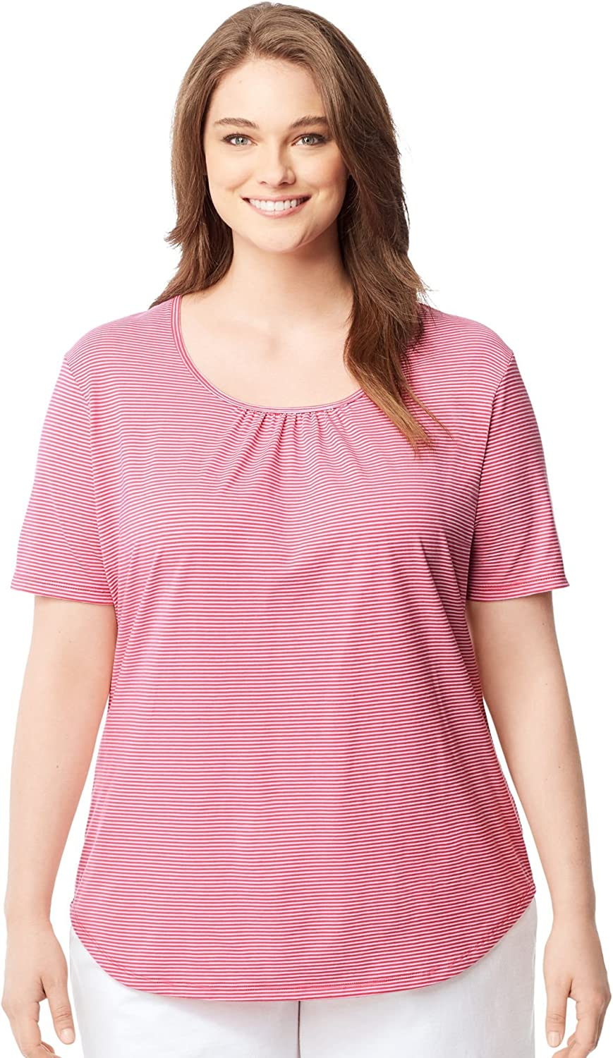 Just My Size Womens Shirred and Striped Scoop-Neck Jersey Tee