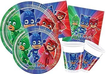 """Lote de Cubiertos Infantiles Desechables Decorativos """"PJ Masks"""" (16 Vasos, 16"""