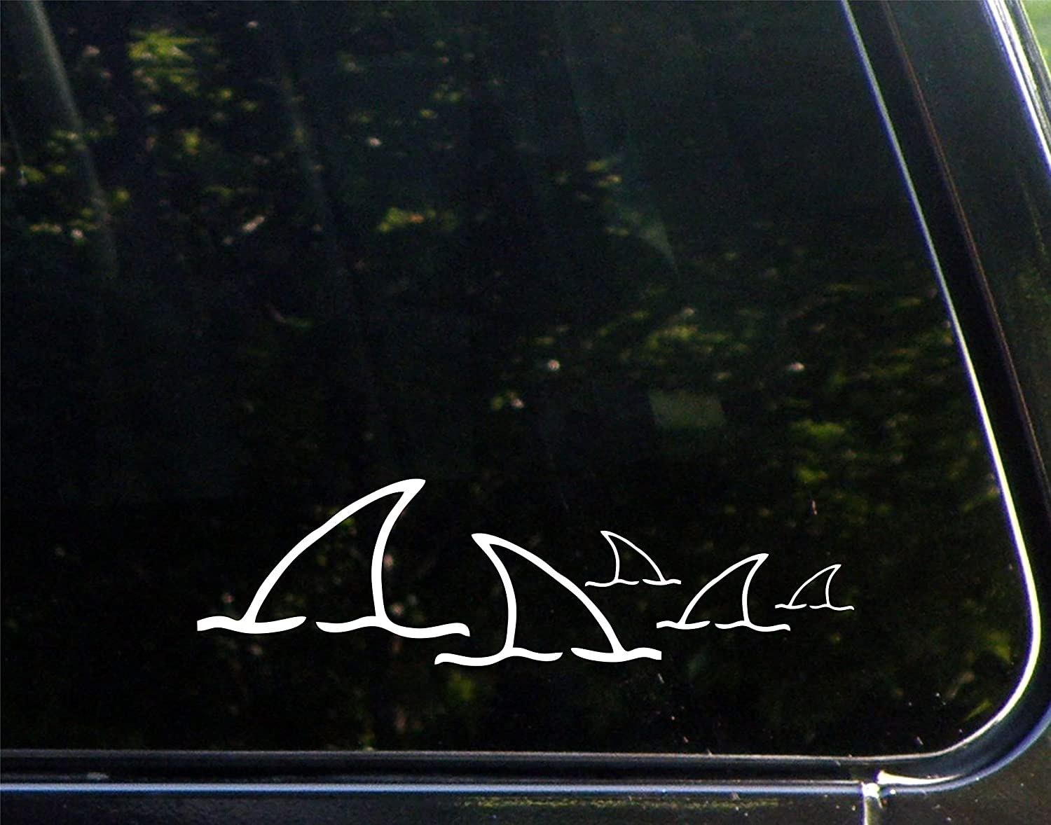 "Diamond Graphics Shark Fin Family - 3 Kids (8-3/4"" X 2-1/2"") Die Cut Decal Bumper Sticker for Windows, Cars, Trucks, Laptops"
