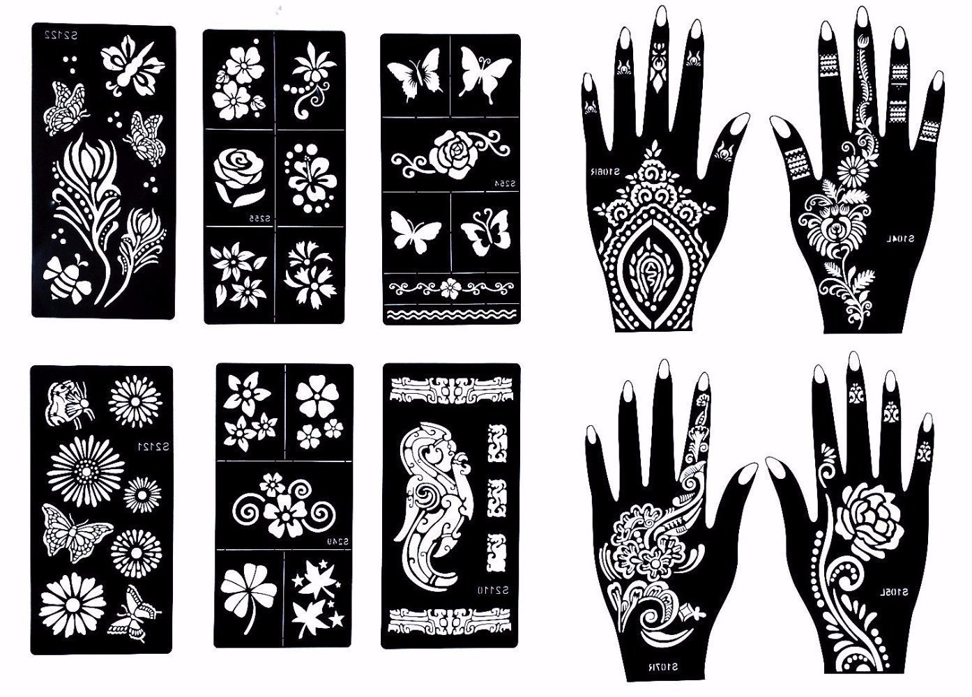 Stencils for henna tattoos 10 sheets self adhesive for Henna temporary tattoo stencils