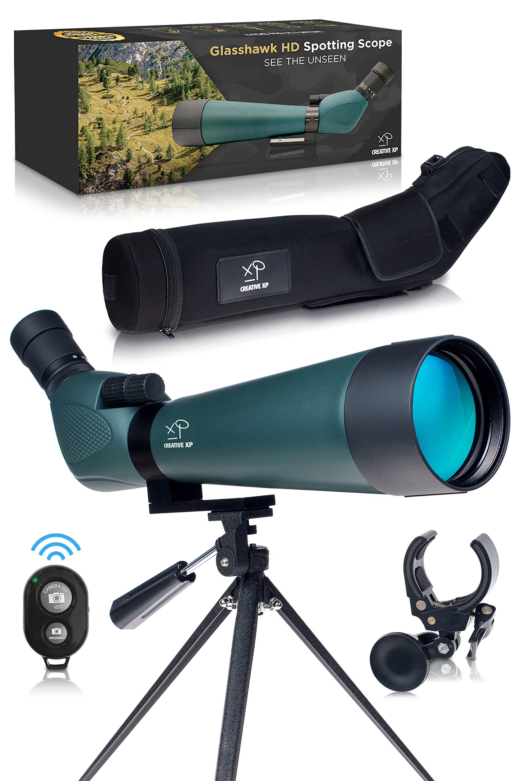 HD Spotting Scope with Tripod 20 - 60x80mm - BAK 4 Prism Spotting Scopes for Target Shooting Hunting Astronomy Bird Watching - 100% Waterproof Shockproof IP67 - Includes Phone Adapter and Clicker by CreativeXP