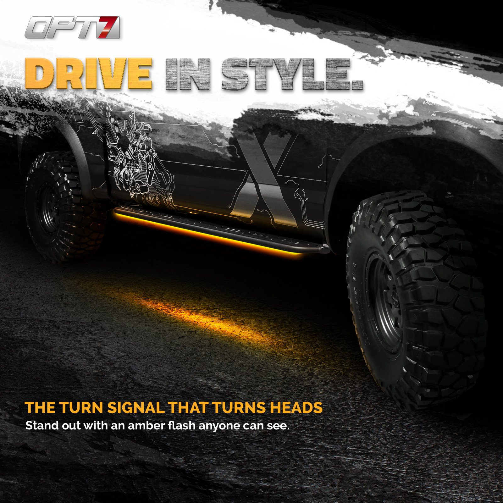 OPT7 2pc 60'' Side Kick Running Board LED Strips w/Amber Turn Signal, DRL, and White Courtesy Lights by OPT7 (Image #3)