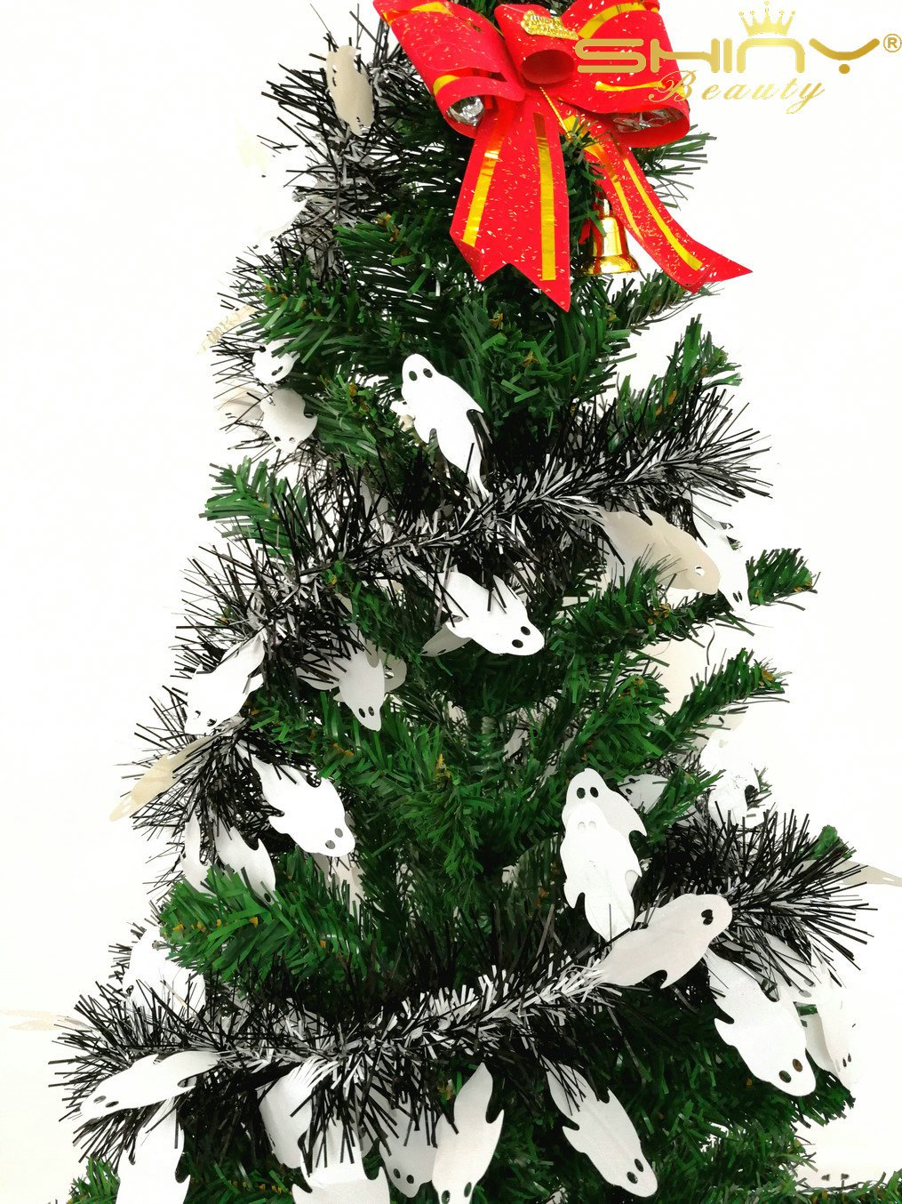 5 Pieces Tinse Garland For Halloween Tree or Door Windows Decoration, Shinny Party Accessory TG004