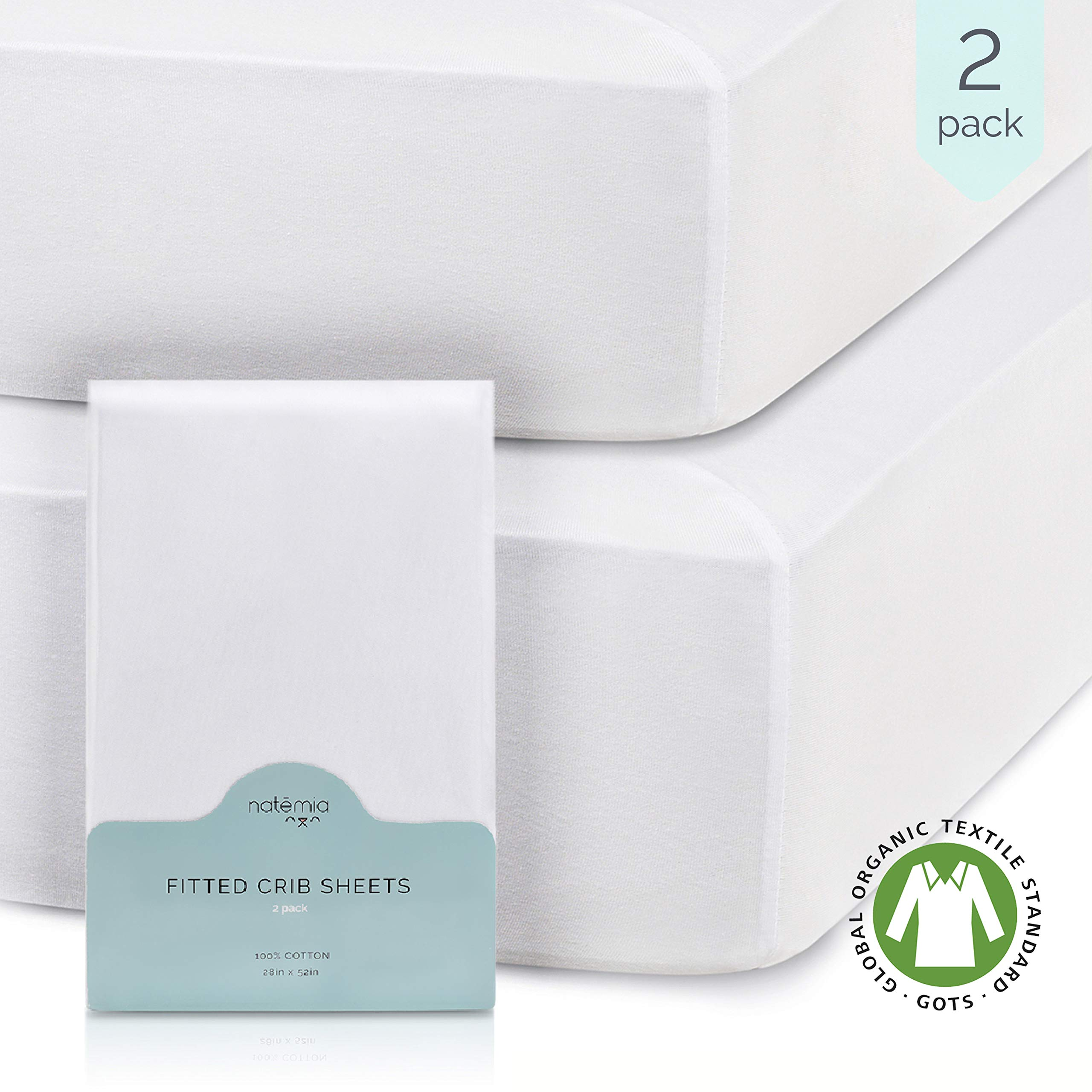 Natemia Fitted Crib Sheets - 100% Organic Turkish Cotton - Pack of 2-28 X 52 for Standard Crib and Toddler Mattresses - Silky Soft and Hypoallergenic - GOTS Certified by Natemia